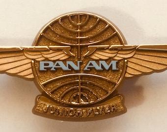 Vintage 1970's PAN AM AIRLINES Junior Flyer Plastic Kiddie Wings Pin