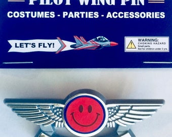Kids Happy Face Airplane Airline Pilot Wing Pin Plastic Badge Party Favor New in Package