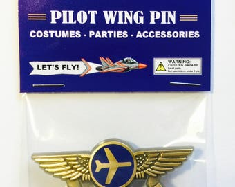 Kids Airplane Future Pilot Airline Pilot Wing Pin Plastic Badge Party Favor New in Package