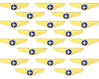 20 Kids Airplane Airline Pilot Wing Plastic Kiddie Pins Party Favors