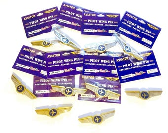 Kids Airplane Airline Pilot Wing Pin Plastic Badge Lot of 10 Party Favors New in Package
