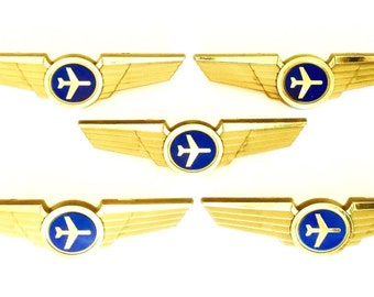 5 Kids Airplane Airline Pilot Wing Pins Plastic Badges Party Favors