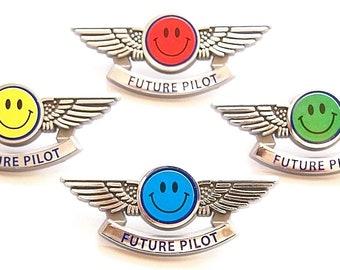 Future Pilot Wing Pins Happy Face Party Favors 4 Colors
