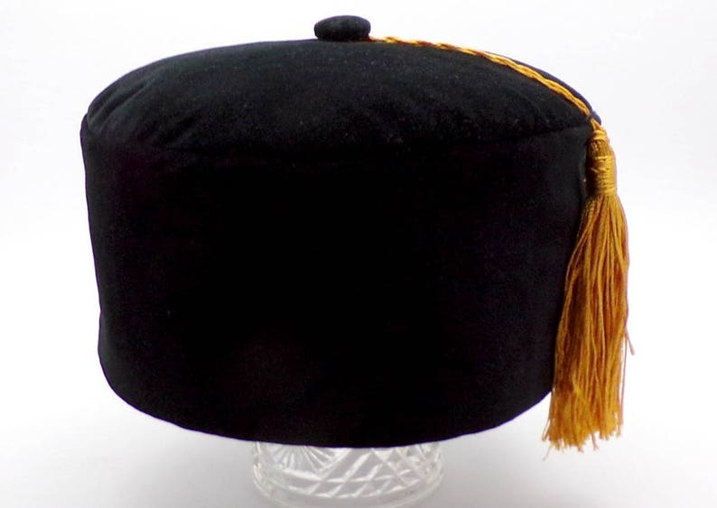 9525fd6b4 Black Velvet Smoking Cap Lounge Hat Victorian Style with Tassel Made to  Order