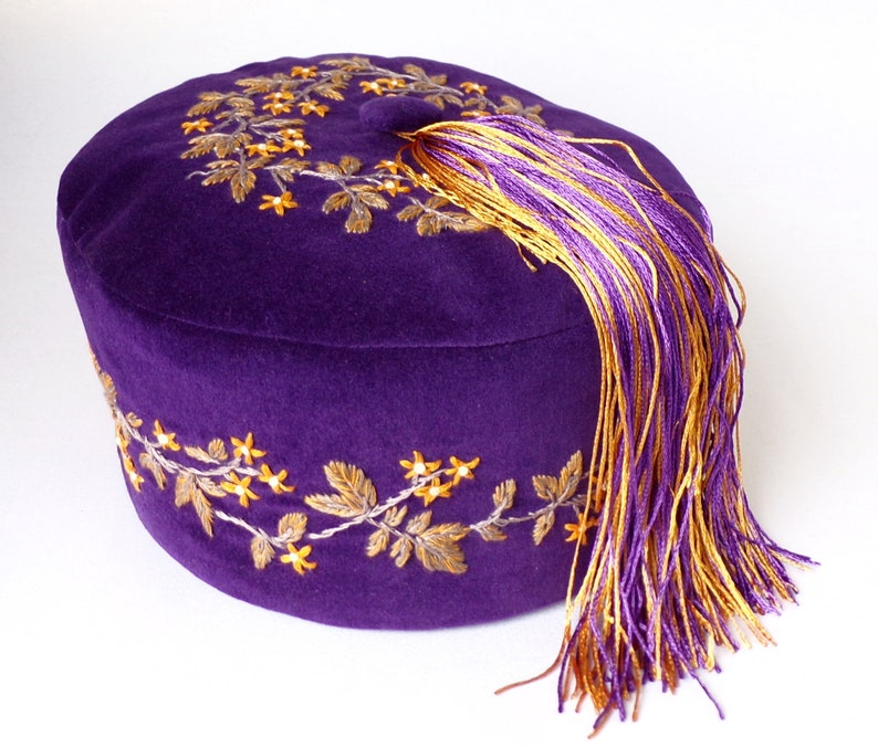 acf175442 Hand Embroidered Victorian Style Smoking Cap , Men's Lounge Hat With  Tassel, Pill Box Hat