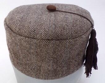 Brown Herringbone Tweed Smoking Cap With Tassel, Handmade to Order