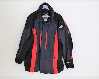 Vintage Windbreaker THE NORTH FACE Track Jacket with Hoodie Blue Red Ski Jacket  Mens Summit Series Jacket Xl Large c04bf9e767fc