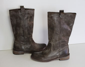US7.5 Vintage Made in Italy Brown Leather Hippie Festival Boots for Women size EU38  UK5.5  US7.5