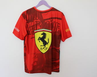 2ed9ba9cb1fe FERRARI T Shirt Italy Racing print on the front Biker Racing Motosports  Shirt Vintage Riders Club Sports large