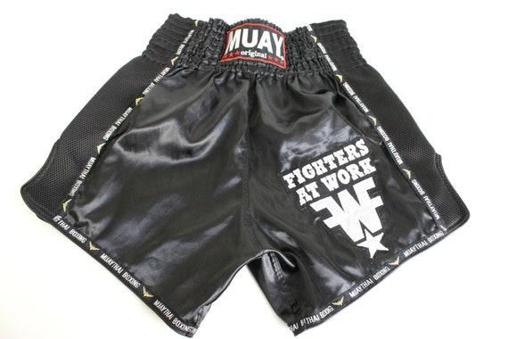 Boxing Shorts Fight Sport Pants Black white Silver