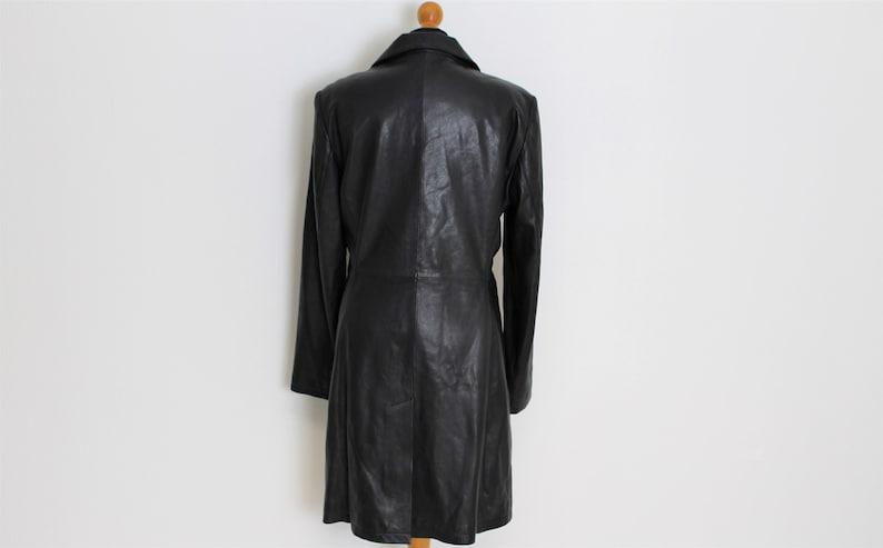 8c4cccf1c Soft Leather Coat Midi Trench Coat Black Trench coat Goth Steampunk Biker  Punk Hippie Jacket Women Spy Jacket Size Medium to Large