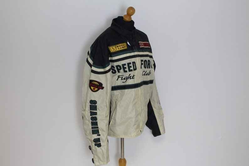 Embroidered Bomber Jacket SPEED FORCE FIGHT Club   Biker Racing Motosports Jacket Vintage Riders Motorcycle Club Sports  Large to xl