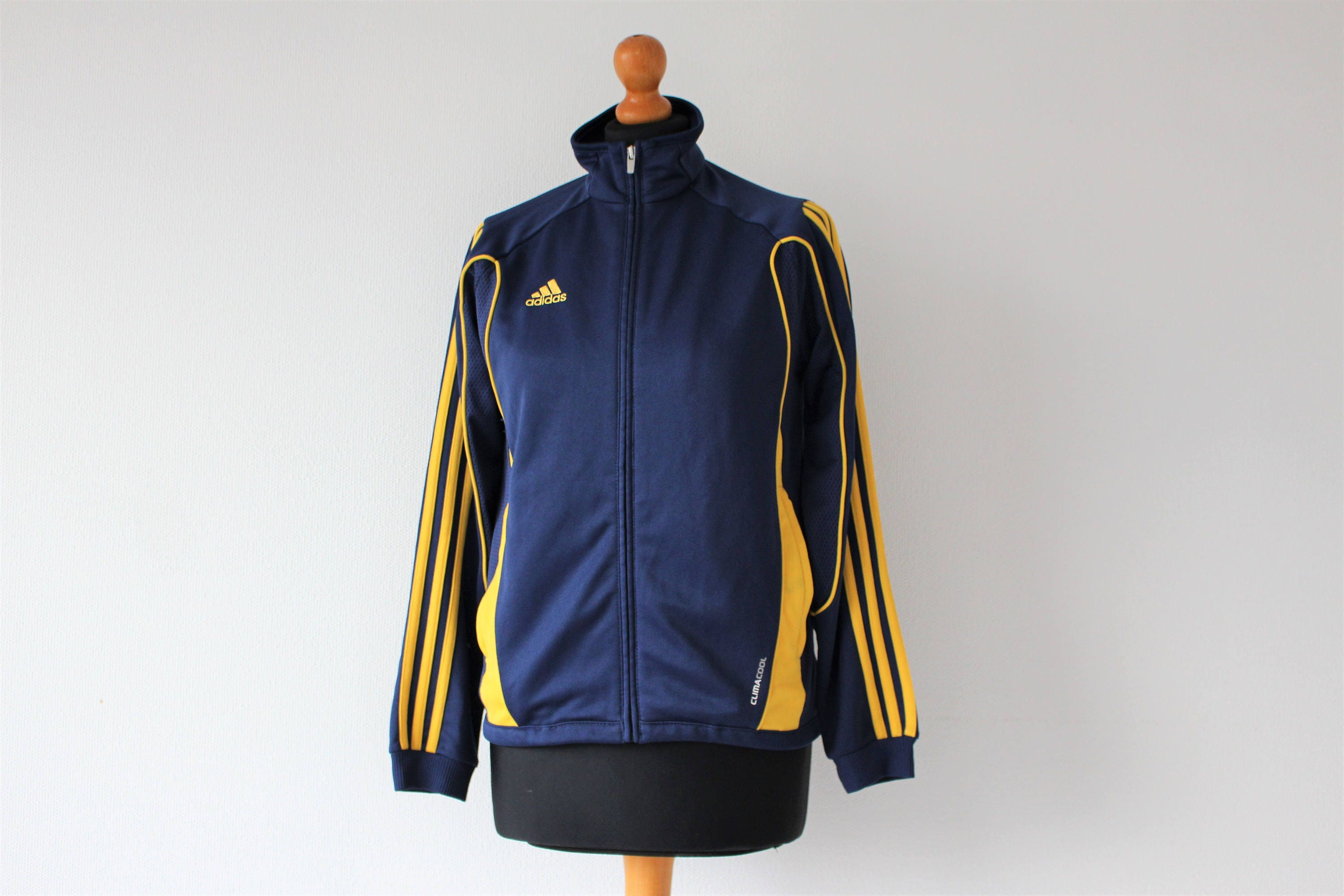 Blue Adidas Track Jacket 3 stripes Vintage Adidas Clima 365 Modell Hipster Sports Jacket Striped Athletic Size Large