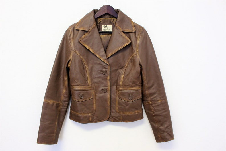 0740af463 Brown Leather Blazer Classic Soft Leather Bomber Jacket Biker Racing Jacket  Riders Motorcycle Cropped Leather Jacket Medium Size