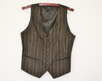 SALE Gray Brown Striped Womens Vest Classic Fitted Formal Romantic Waistcoat Steampunk  Large Size