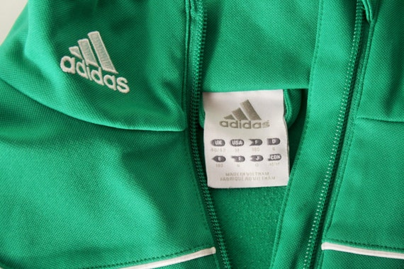 Adidas Jacket Green 3 stripes 80s Track anorak Half Ziped Pullover Football Mens Sport Jacket Hipster Old School Size Medium