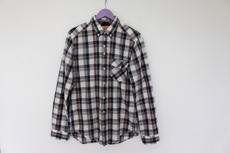 Vintage Boss Shirt Plaid Dress Shirt Checkered Mens Shirt Etsy