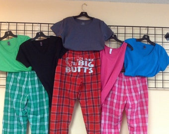 Mix and match flannel bottoms and T's customized by PepCo Designs
