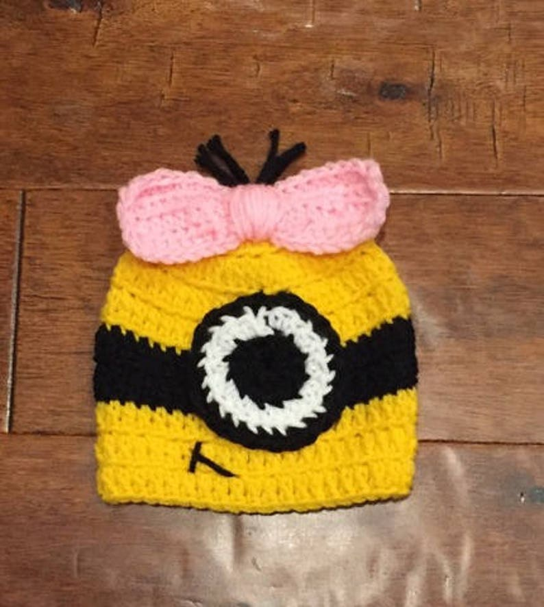 6edd1c48019 Despicable Me Minion crocheted hat photo prop baby shower