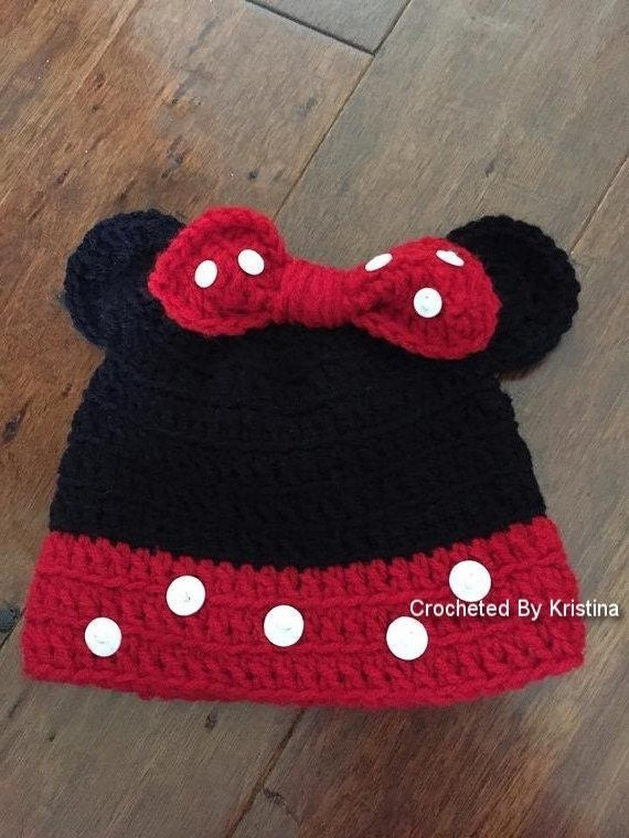 Minnie Mouse gift, Crocheted Minnie Mouse hat, gift for child, girls  costume hat, Minnie Mouse photo prop, soft kids hat, Disney costume