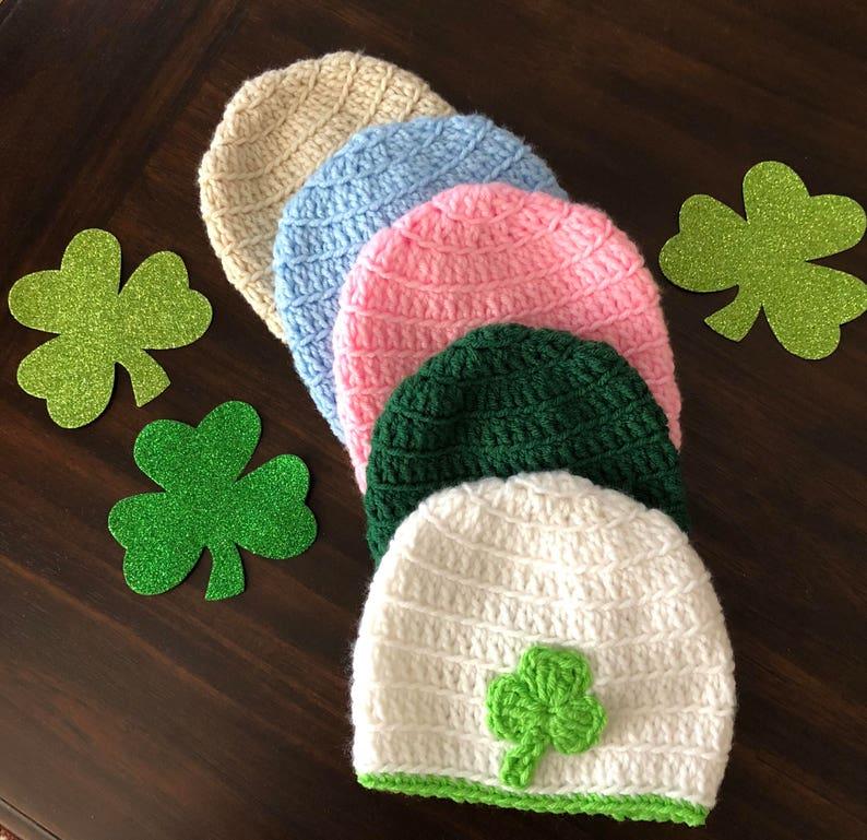 483cb88ba1b03a Crocheted hat beanie with pom pom kids St Patricks Day hat | Etsy