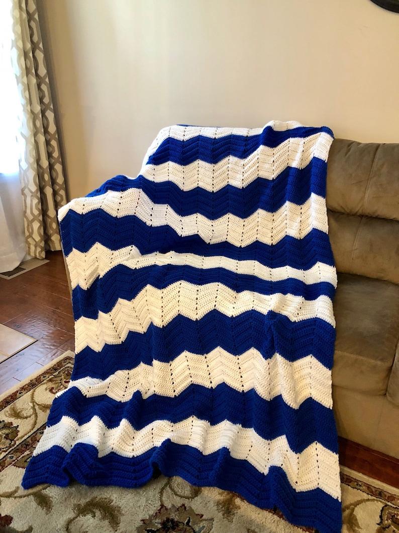 2daf78c137b Crocheted Chevron Blanket in royal blue and white crocheted