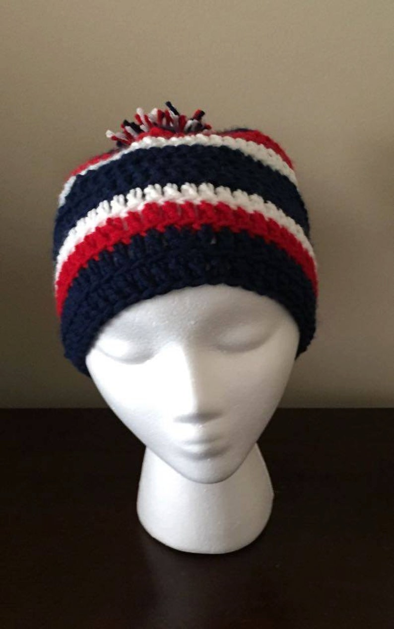 2882047e Crocheted New England Patriots Houston Texans hat - beanie with pom pom,  patriotic hat, back to achool, unique gift, handmade hat
