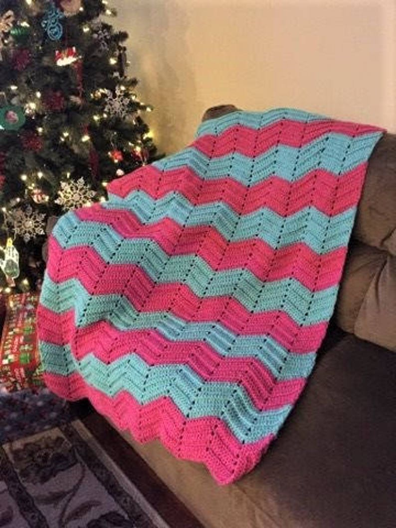 gift for her Crocheted Chevron Blanket in pink and aqua girls room bedding pink afghan throw blanket oversized blanket handmade afghan