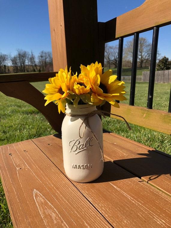 Mason Jar Wedding Centerpiece Rustic Wedding Rustic Decor Farmhouse Decor Sunflower Decor Shabby Chic Elegant Table Barn Wedding
