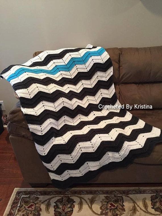 Crocheted Chevron Throw Blanket Lap Blanket Stadium Blanket Etsy Custom Grey And White Chevron Throw Blanket
