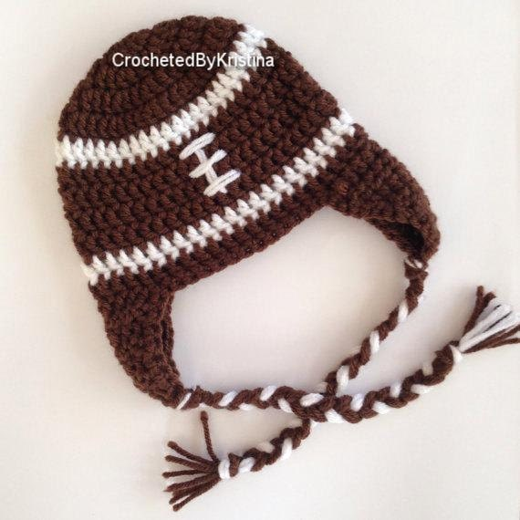 2377813d Crocheted football hat - beanie with ear flaps and braids, handmade hat,  brown football hat