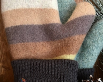 Sweater Mitten Felted Wool in Brown Green