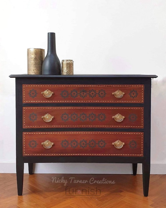 Sold Sold Edwardian Painted Chest Of Drawers Painted Dresser Partly Painted In A Black Mineral Paint