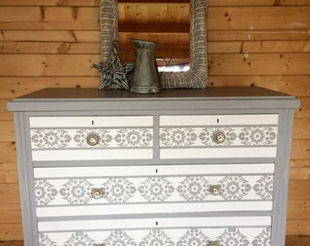Commissions Available in This Style, VINTAGE PINE CHEST Of Drawers, Dresser,Hand Painted in Annie Sloan Paris Grey Chalk Paint with Old Whit
