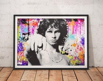 Jim Morrison The Doors Stylish Song Graffiti Artwork Print Multi-Coloured Wall Art Home Decor A4 A3 A2 A1