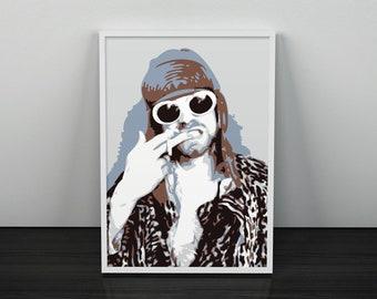 Kurt Cobain Nirvana Stylish Artwork Print Grey Wall Art Home Decor A4 A3 A2 A1