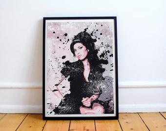 Amy Winehouse Stylish Artwork Print Pink Black Wall Art Home Decor A4 A3 A2 A1
