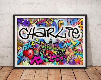 Personalised Name Graffiti Wall Art Print - boys girls childrens bedroom street urban art decor colourful