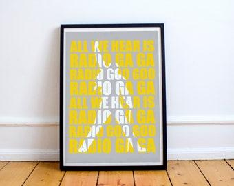 Queen Freddie Mercury Radio Gaga Lyrics Stylish Artwork Print Wall Art Home Decor A4 A3 A2 A1