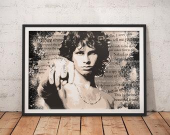 Jim Morrison The Doors Stylish Song Lyrics Artwork Print Sepia Wall Art Home Decor A4 A3 A2 A1
