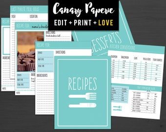 """Printable Recipe Binder Organizer // Over 30 Print Ready 8.5""""x11"""" Pages in Teal for Cooking and Baking - Digital PDF + Instant Download"""
