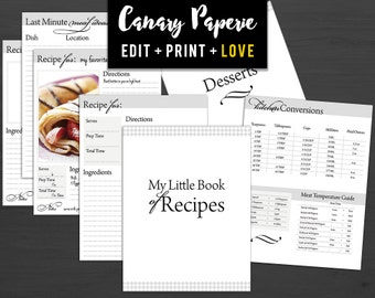 """Ink-Friendly Printable Recipe Binder Organizer // 31 Print Ready 8.5""""x11"""" Pages! For Cooking and Baking - Digital PDF + Instant Download"""