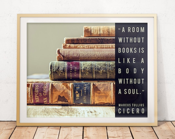 PHOTO PRINT ART GIFT CICERO QUOTE POSTER A ROOM WITHOUT BOOKS