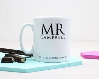 Mug For Mr And Mrs; Personalised, gift for him, gift for her, wedding gift, valentines gift