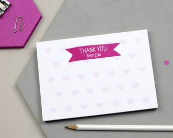 Personalised Hearts Thank You Notepad - Fun Design - Personalised Notepad - Personalised Stationery - Note Card