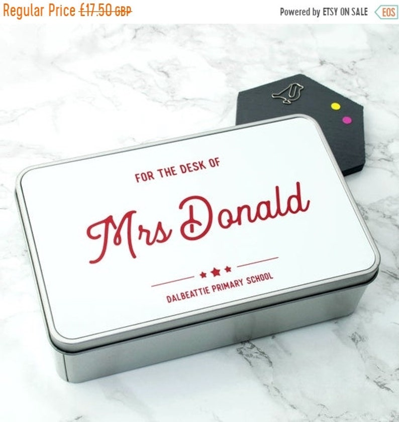 ON SALE Personalised /'For The Desk Of\u2026/' Teacher/'s Tin