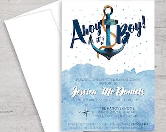 Nautical Baby Shower, Invitation, Anchor, Ahoy It's A Boy, Nautical Party, Baby Boy Shower, Boy Baby Shower, Baby Shower Invite, Printable