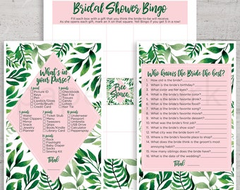 Tropical Bridal Shower, Game Sheets, Flora, Palm Trees, Hawaiian Party, Summer Shower, Printables, Bridal Shower Bingo, What's in Your Purse