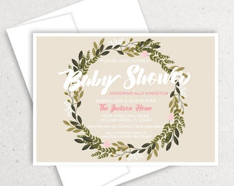 Floral Baby Shower, Flower Wreath, Boho Shower, Neutral Baby Shower, Watercolor Floral, Gender Neutral, Bohemian Theme, Boho Invitation