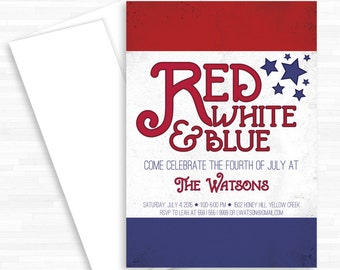 Memorial Day Invite, Red White Blue, 4th of July Invite, BBQ Invite, Patriotic Invite, Pool Party Invite, BBQ Invitation, Labor Day Invite